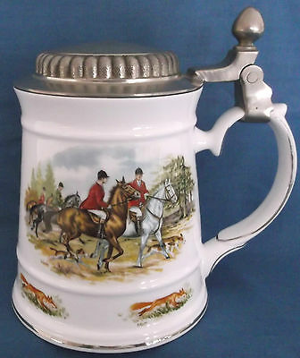 Royal Tara Stein Mullinger Pewter Lid Fox Hunting Horses Hounds Galway Ireland • 29.99£
