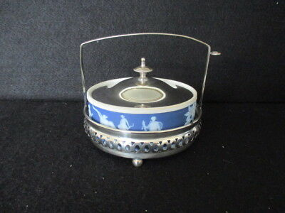 Wedgwood Dark Blue Jasper Butter Dish With Epns Lid And Epns Stand • 45£