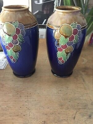 Vintage Royal Doulton Decorative Vase - Fruit Design Ethel Beard 8709 • 100£