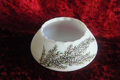 Delightful Small Frosted White Glass Hand Painted Scottish Heather Bowl • 4.99£