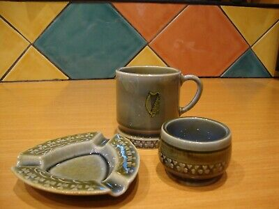 3 Pieces Of Irish Porcelain Shamrock, Ashtray, Harp Mug And Small Bowl • 5£