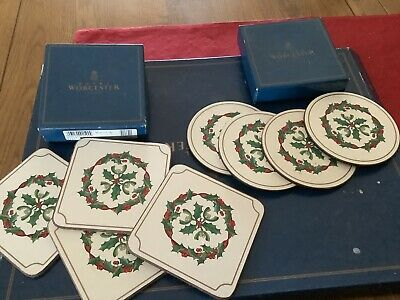Royal Worcester Holly Ribbons Coasters 2 Boxes Of 4,round & Square • 12.99£