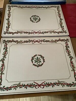 Royal Worcester Holly Ribbons Extra Large Centre Table Place Mats • 15£