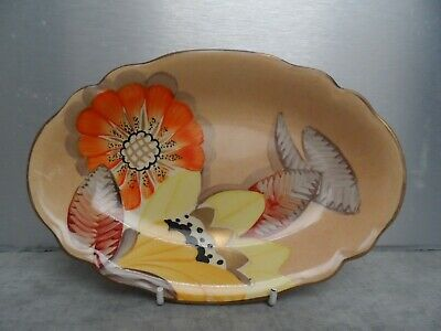 Vintage Grays Pottery Hand Painted Art Deco Dish Sunbuff Stoke On Trent Signed • 15£