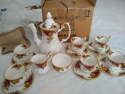 Royal Albert Old Country Roses 16 Piece Coffee Set. 1st Quality Backstamp 1963 • 79.99£