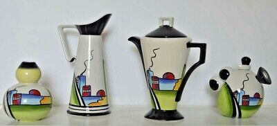4 Pieces Of Lorna Bailey  Deco House  Clarice Cliff Style - Tall Jug, Coffee Pot • 225£