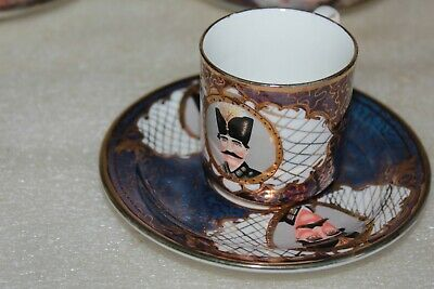 6 Unusual Cabinet Coffee Cups & Saucers Hand Painted Portraits Of Russian? Man  • 14.99£