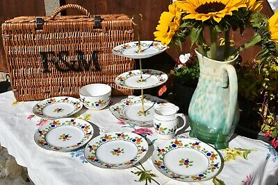 Vintage Hand Painted Foley Cake Stand & Tea Set & Trio's With Milk Jug And Bowl • 25£