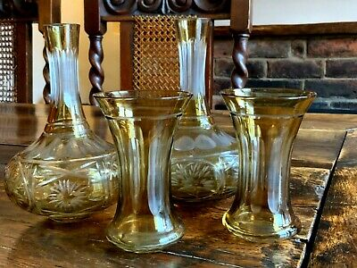 Antique Pair Of Bohemian Amber Flashed Cut To Clear Crystal Caraffes/Decanters • 85£