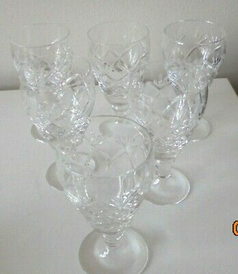 Set Of Six Cut Glass Crystal Glasses (Height 4 Inches)  • 0.99£