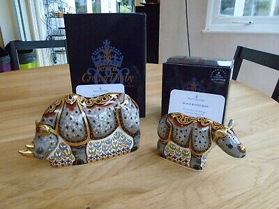 Royal Crown Derby Black Rhino & Baby Paperweights - Limited Edition - 166 Of 500 • 525£