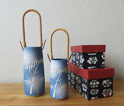 2x Oriental Japanese Pottery Ceramic Bamboo Handle Vase Blue White, New Boxed  • 17.99£
