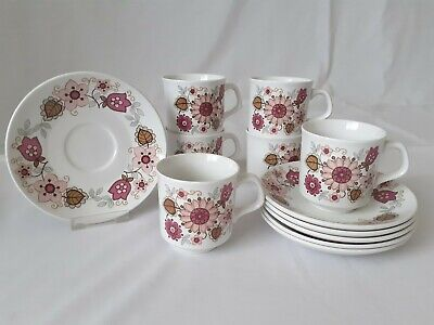 Set Of 6 X J&G Meakin Filigree Pink Floral Cups And Saucers • 14.99£