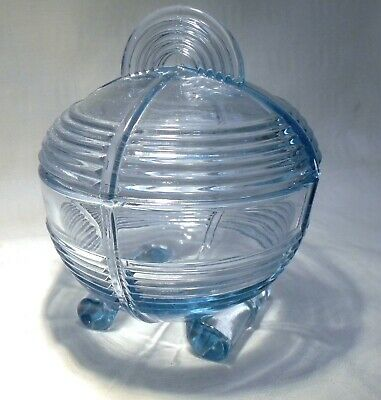Art Deco  Blue  Glass  Bowl / Jar & Lid • 12.99£