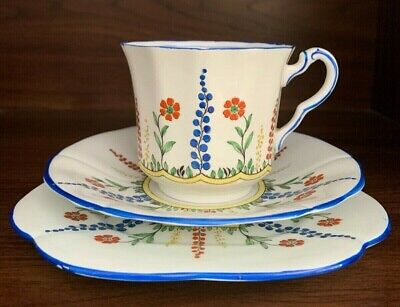 Paladin China E Hughes & Co Hollyhocks Cup Saucer & Plate Trio • 20£