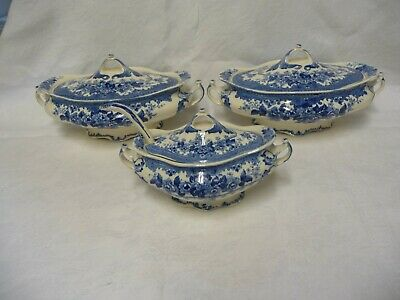 Pair K & Co Late Mayers Blue & White China Tureens & Sauce Boat + Ladle Colwyn  • 30£