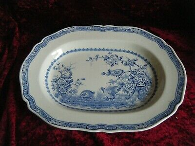 Furnivals Quail Large Oval Platter / Roast Serving 15   X 11  Blue White Vintage • 24.99£