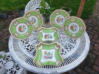 Antique Mortlock Of Oxford St London Green Plates And Serving Dishes • 480£