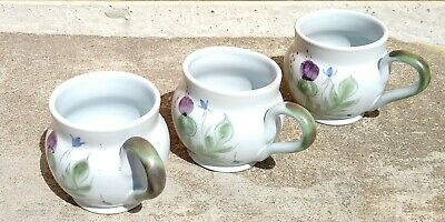 Three  •  Buchan Stoneware, Thistle Shape Original Cups.  Mint Condition! • 12£