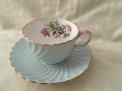 Antique Aynsley Fine Bone China Tea Cup & Saucer Duo, Pale Blue With Flowers • 16.70£