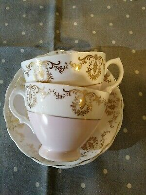 Vintage Royal Vale Pink Tea Cups Saucers Set 2 Duos Gilt Bone China England Gold • 19.99£