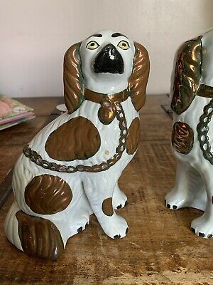 Antique Victorian Staffordshire Spaniel Dog Bronze & White With Collar And Chain • 6.50£