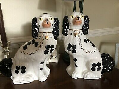 Large Pair Of Staffordshire Style Mantle Piece Wally Dogs Black Gold & White • 35.99£