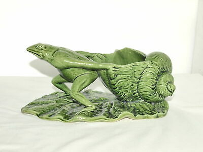 WATCOMBE TORQUAY POTTERY C19th GREEN GLAZED FROG & SHELL GROTESQUE GROUP • 135£