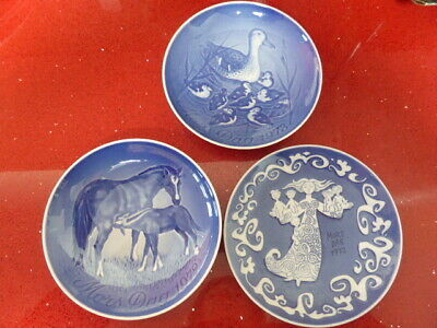 PLATES X3 Mother's Day 1972,73,B&G Mors Dag,Vintage,horse,ducks,collectable,blu • 6.99£