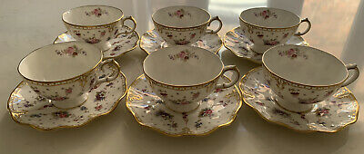 6 X Royal Crown Derby Royal Antoinette Tea Cup And Saucer.  First Quality • 460£