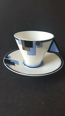 Shelley Blue Blocks Mode Coffee Cup And Saucer C.1930 Pattern 11788 • 185£
