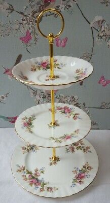 Royal Albert  Moss Rose   3-tier Cake Stand  ***Tea For Two??*** • 14.99£