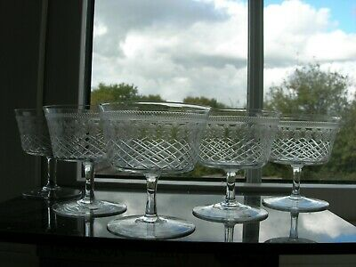 Pall Mall/Lady Hamilton - Five Low Champagne Glasses - Cut/Etched - C1910 • 55£