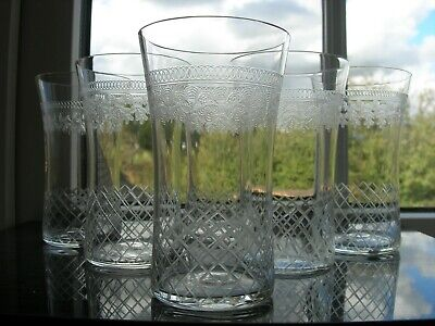 Pall Mall/Lady Hamilton - Six Small Glasses - Cut/Etched - C1910 • 45£