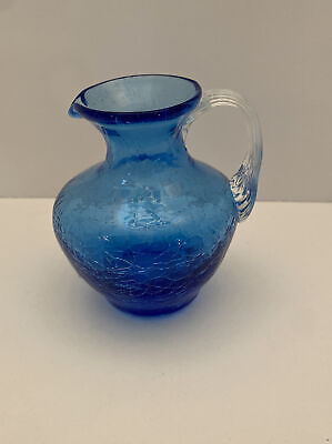 Miniature Small 3.5  Blue Crackle Glass Pitcher Creamer Short Neck Clear Handle • 7.71£