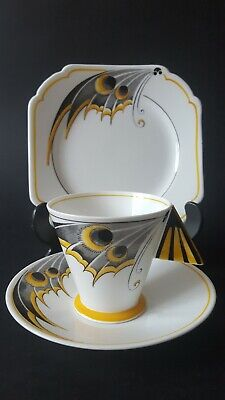 Shelley Yellow Butterfly Wing Mode Cup, Saucer, Tea Plate Trio C.1930 • 350£