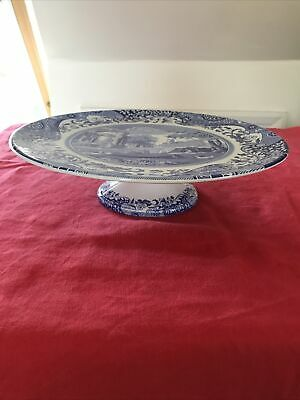 Excellent Copeland SPODE Blue Italian Footed Cake Stand Blue White • 22£