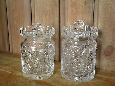 Lovely Lead Crystal Cut Glass Jam Honey Relish Preserve Pot Jar With Lid X 2 • 14.50£