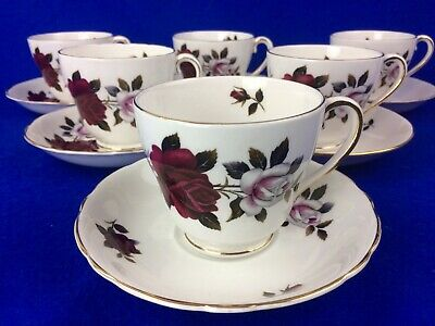 6 X  COLCLOUGH AMORETTA BONE CHINA BREAKFAST CUPS AND SAUCERS  • 14.99£