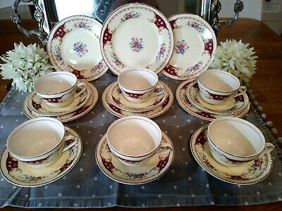 Vintage Portland Pottery Cobridge Staffs 1955 6 Tea Trios Red Floral Set Gilt • 49.99£