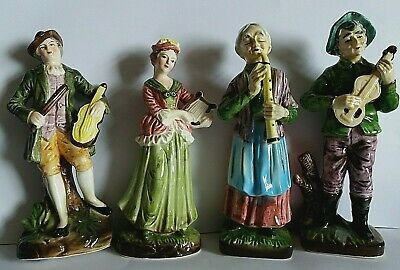 Set Of 4 Porcelain Figures With Musical Instruments VGC  Figurines • 19.99£