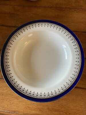 Royal Doulton Belmont Cobalt Blue Rimmed Soup Dishes X 4 D233 • 9.50£
