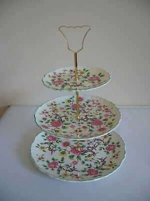 Old Foley - James Kent -3 Tier Cake Stand With Handle - Design Chinese Rose • 22£