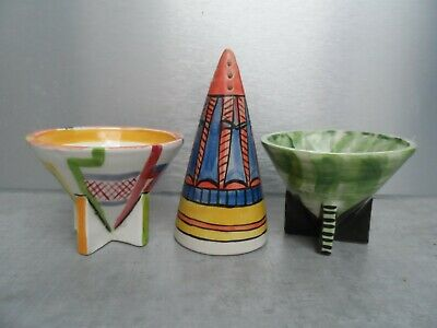 Hand Painted Clarice Cliff Shape Sugar Bowls And Shaker. • 35£