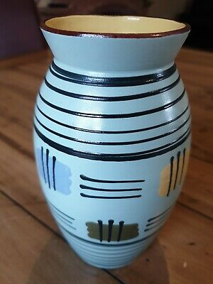 Babbacombe Pottery Light Blue Vase 1959 Torquay Devon Design Of Lines & Colours • 19.99£