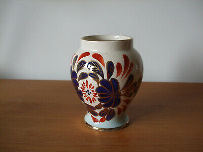 Vintage Oldcourt Ware Handpainted 16cm Vase, With Red, Blue And Gold Decoration • 1.50£