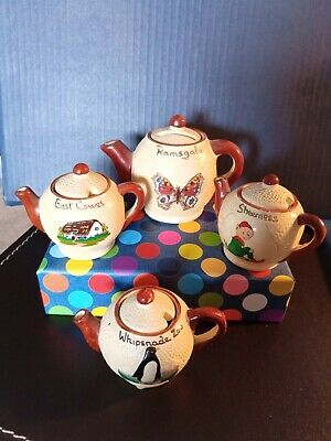 Manor Ware Souvenir Teapots 1 Moneybox, 3 Mustard Pots, Pottery & Liners 1960s • 9£