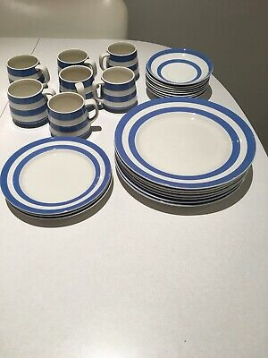 Original Cornish Kitchenware - Blue And White Cups And Saucers And Plates. • 50£