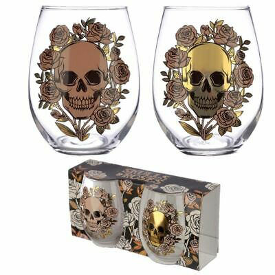 Skulls And Roses Set Of 2 Glass Tumblers, Xmas Gift/Present/Stocking Filler • 9.50£