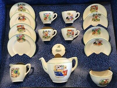 Ellar Pottery Child's Teaset Nursery Rhymes 4 Cup Set Vgc Boxed 1950s • 30£